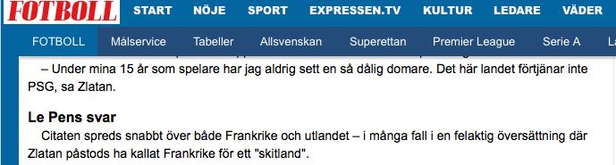 Skärmdump expressen.se.