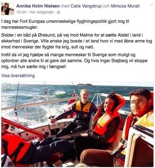 Skärmdump Annika Holm Nielsens Facebook.