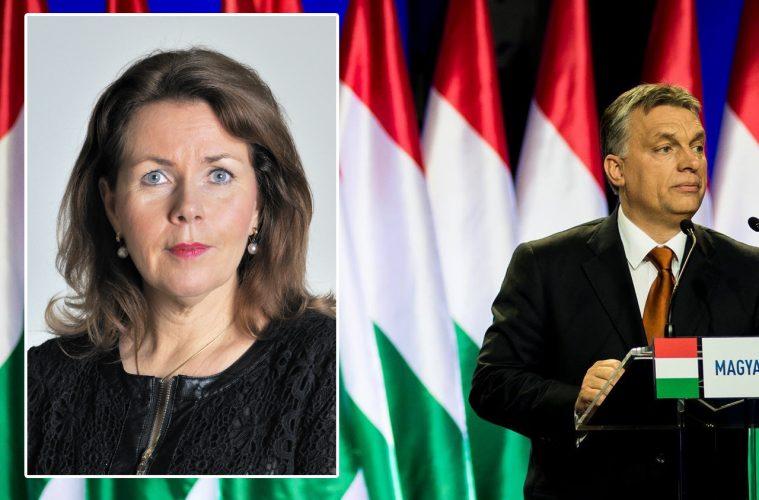 Ungerns president Viktor Orbán och Europaparlamentarikern Cecilia Wikström (L)