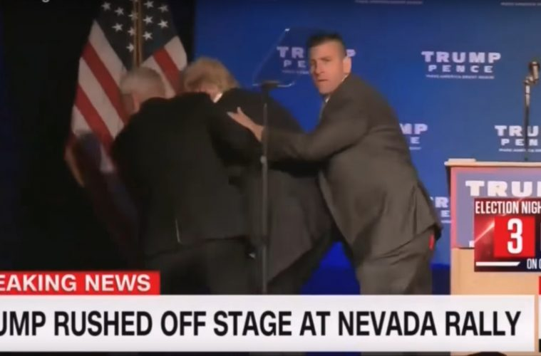 Donald Trump evakueras