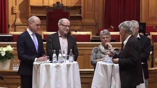 Fredrik Reinfeldt (M), Stefan Attefall (KD), Maud Olofsson (C) och Bengt Westerberg (FP/L)