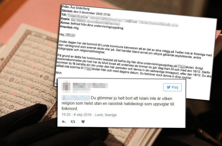 Koran och lärarens tweet och e-post om avstängning.