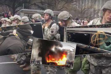 Skadegörelse och bilbränder. Militärer står vakt.