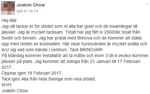 Joakim Chow tackar alla som skänkt på Facebook.
