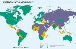 Karta på vilka länder som är fria.