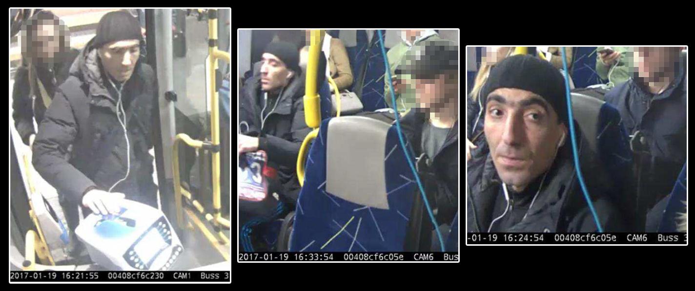 Tre bilder på den misstänkte sexofredaren.