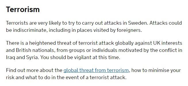 Storbritannien om terrorhotet i Sverige