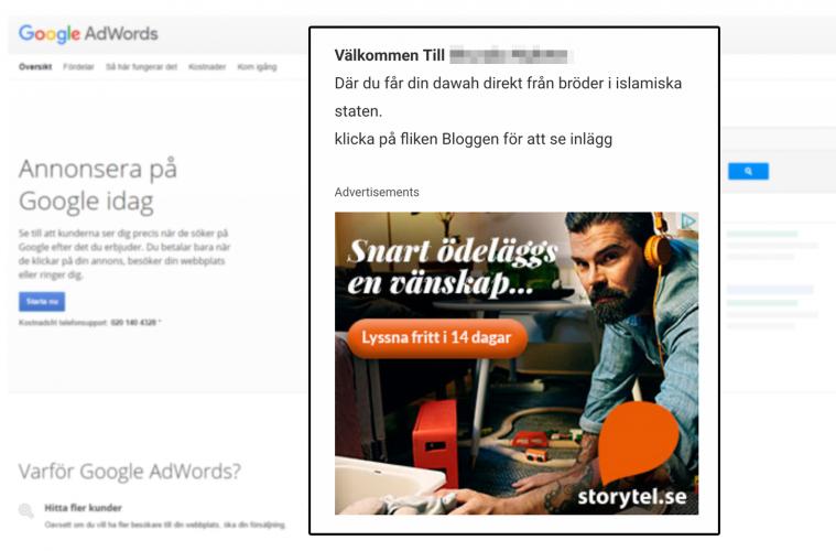 Annonser visas på jihadistsajt