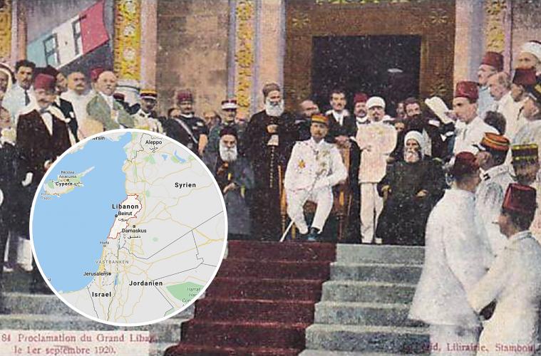 Franske generalen Henri Gouraud, befälhavare i Franska mandatet för Syrien och Libanon, proklamerat av Nationernas Förbund 1920